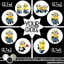 Despicable Me SET OF 2 BUTTONS or MAGNETS or MIRRORS minion pinback badge #1359