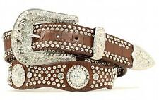 Nocona Western Womens Belt Leather Crystal Concho Gator Brown N3416202