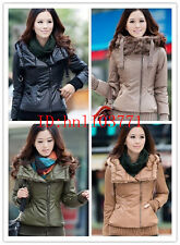 2014 New Style Women Faux Fur Collar Winter Warm Slim Leather Hood Jacket Coat