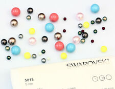 Genuine Swarovski 5818 Crystal Round Pearls Half Drilled - Many Colors & Sizes