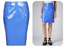 TOPSHOP NEW CORNFLOWER BLUE PVC VINYL PENCIL KNEE MIDI SKIRT rrp £38 SIZES 4-16