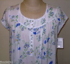 MED LG XL Eileen West Floral Short Mid-Calf Cotton Blend Night gown Cap Sleeve