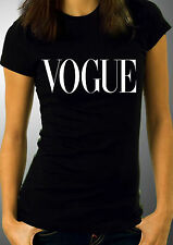 *VOGUE Women T-Shirt Black Top Miley Cyrus Iggy azalea Ariana Grande Fashion Top