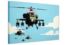 CANVAS PICTURES BANKSY WAR HELICOPTER PINK BOW TIE WALL ART PRINTS GRAFFITI ART