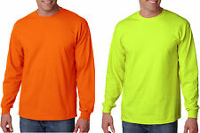 Gildan or Jerzees NEW ANSI HIGH VISIBILITY Safety Long Sleeve T-Shirt 2400 S-5XL