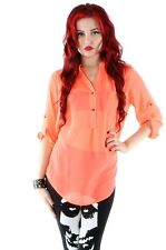 IRON FIST SPINELESS BLOUSE SEE THROUGH TOP BNWT - NEON CORAL
