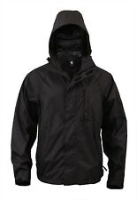 Mens Rain Jacket - RipStop Packable Style, Black by Rothco