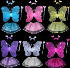 Kid's Double Layer Fairy Angel Butterfly Wings Dress Up Four-piece Suit Costume