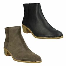 BRECCAN MYTH LADIES CLARKS LEATHER FORMAL ZIP SMART HEELED ANKLE BOOTS SIZE