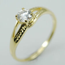 14k EP Yellow Gold Womens Solitaire Engagement Ring with Created Diamond 0.5ct