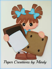 Smores Girl Standing camping premade paper piecing scrapbooking page border