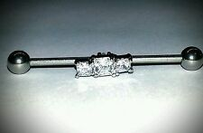"""Industrial Barbell Cartilage Jewelry Scaffolding 14g 1 1/4"""" 1 3/8"""" 1 1/2"""" CZ"""