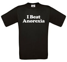 I beat anorexia t-shirt | Funny fat chubby obese skinny tshirt top 0127