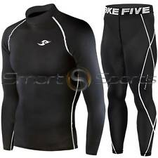 Mens Sports Top Pants Shorts SETS Running Rugby Compression Base Layers Take 5