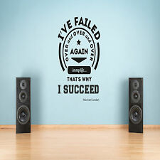 Ive failed over and over again Michael Jordan Wall Sticker Gym sports Decal