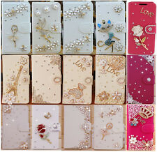 Luxury 3D Diamond Bling Flip Wallet PU Leather Case Cover For Alcatel One Touch