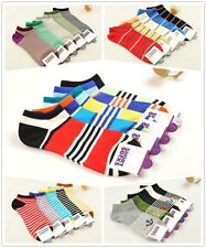 5 Pairs Lot x 5 Styles Mens No Show Striped Ankle Cotton Socks Low Cut Stripe
