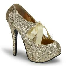 AU Stock Bordello Shoes TEEZE-10G Pumps Heels Gold Glitter Party Ribbon Bridal