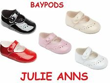 BABY GIRLS BAYPODS PATENT PUNCH PRAM CLASSIC SHOES BY EARLY DAYS,NEW JULIE ANNS