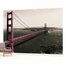 Golden Gate Bridge San Francisco Purple Photo Wallpaper Wall Mural (CN-1196P)