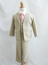 Boy khaki/taupe/ivory formal suit with fuchsia pink red purple coral long tie