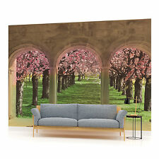 View from Terrace Blossoming Trees Photo Wallpaper Wall Mural (CN-438VE)
