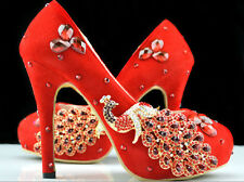 classic red high heel phoenix rhinestone crystal shoes wedding bridal shoes size