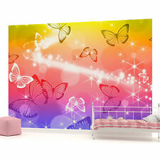 Butterfly Sparkles Rainbow Colours Photo Wallpaper Wall Mural (CN-402P)