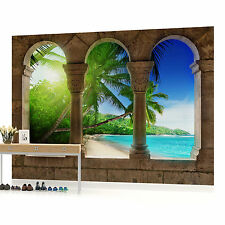 Paradise Beach View Through Arches Photo Wallpaper Wall Mural (CN-772P)