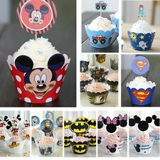 Cute Cartoon Paper Baking Cups with Sponge Cake Decoration without Toothpick