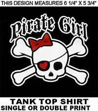 PIRATE GIRL SKULL AND CROSSED BONES RED BOW AND HEART EYE PATCH T-SHIRT XT73
