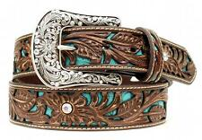 Ariat Western Womens Belt Leather Rhinestones Turquoise Inlay Brown A1513402
