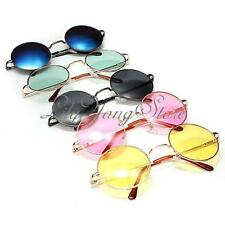 New Classic Unisex Woman Retro Hippy Style Round Silver Metal Frame Sunglasses