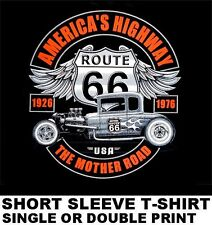 USA ROUTE 66 THE MOTHER ROAD HOT STREET ROD 1932 DEUCE COUPE FLAMES T-SHIRT W566