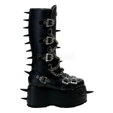 DEMONIA PLATFORM GOTH PUNK CYBER CALF MOTORCYCLE BOOTS CHAINS SPIKES BUCKLES
