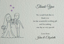 10 Personalised Wedding Thank You Notes Cards *2 Designs*  *FREE POSTAGE*