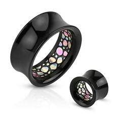 Pair of Abalone Pattern Inlayed Inside of Black Acrylic Saddle Fit Tunnel E47