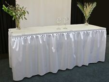 "6 Table Skirts 14ft Satin 29"" Banquet Skirting 3 Colors Made in U.S.A Wedding"
