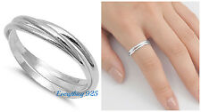 Sterling Silver 925 PRETTY INTERTWINED SILVER BAND DESIGN RINGS 1.5MM SIZES 5-12