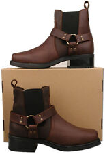 Mens New Brown Leather Cowboy Western Harley Ankle Boots Size 6 7 8 9 10 11 12