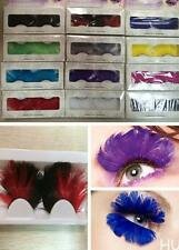HU US 1 Pair Multicolor Long False Feather Eyelashes Makeup Eye Lashes For Party