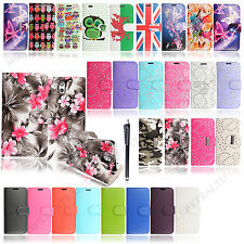 For HTC Mobile Phones New Printed PU Leather Book Wallet Flip Case Cover +Stylus