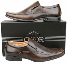 Mens New Brown Slip On Leather Lined Formal Dress Shoes Size 6 7 8 9 10 11 12