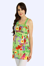 Green Floral Maternity Blouse Womens Sleeveless Tank Top S M L XL