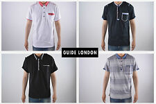New Mens Guide London Designer Button Down Collar Smart Jersey Polo Shirt Tee