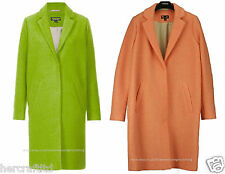 TOPSHOP Womens Ladies Lime or Coral Wool Boyfriend / Cocoon Winter Coat Jacket