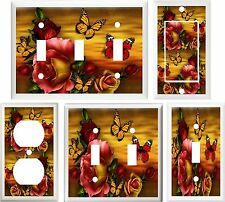 BEAUTIFUL ROSES & BUTTERFLIES HOME DECOR LIGHT SWITCH OR OUTLET COVER V681