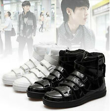 Mens Shiny Faux leather high-top sneakers warm velcro skateboard shoes boots
