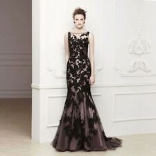 2014 Formal Evening Party Bridal Wedding Ball Gown Prom Black Lace Long Dress