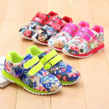 Fashion Kids Boys Girls Flowers Casual Breathable Sports Sneakers Shoes TT16
